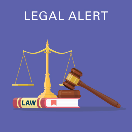 Legal alert law book, gavel, balance
