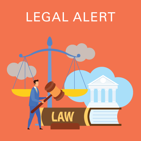 Legal alert with man holding gavel, government building, law book, and balance