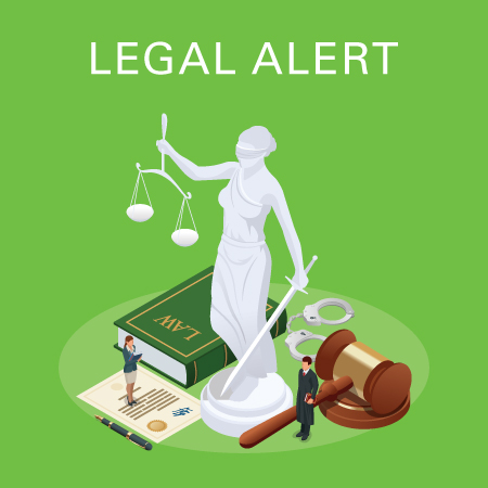 Legal alert with statue, law book, gavel, and document
