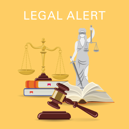 Legal alert - statue, books, and gavel